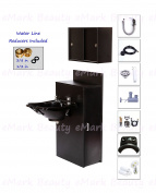 ABS Plastic Backwash Shampoo Bowl Floor Cabinet with STORAGE & Upper Towel Cabinet TLC-B13-BC42-TC