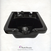 Black Square CERAMIC Wall Mounted Beauty Salon Shampoo Bowl Plumbing Parts Kit Included TLC-B41W
