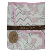 Zack & Tara Snuggle Blanket - Beautiful Blossoms & Chic Chevron in Pink & Grey