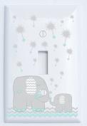 Grey and Seafoam Green Dandelion Elephant Light Switch Plates Covers / Elephant Nursery Decor