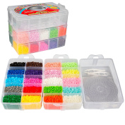 20000Fuse Beads - Beading Kit with 20 colours (5 Glow in the Dark), Tweezers, 6 PegBoards, Iron Paper