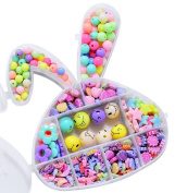 Giftale Various Beautiful Jewellery Beads Educational Toy with Rabbit Shaped Box DIY Jewellery for Children Necklace and Bracelet Crafts Making - Smiling face