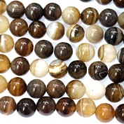 fashiontrenda Natural Grey Banded Agate Round Gemstone Jewellery Loose Beads For DIY Making