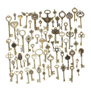Yahead 69pcs Antique Bronze Vintage Skeleton Keys Charm Set DIY Handmade Accessories Necklace Jewellery Making Pendants