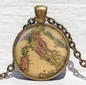 Italy Map Pendant Resin Charm Italy Old Map Vacation Travel Jewellery Picture Pendan