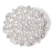 Diamond Encrusted Antique Brooch - Silver