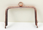 Antique Copper Embossed Purse Frame - Rectangle Bead - 11cm / 4.3inch