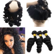 Atina Hair Pre Plucked Natural Hairline 360 Lace Frontal Brazilian Virgin Curly Lace Frontal Band And Bundles