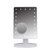 LED Lighted Vanity/makeup Desktop Mirror with 10X Magnification Spot Mirror - 21 pcs LED