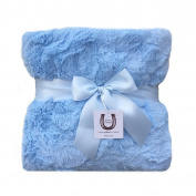 Max Daniel Luxe Blue Bunny Baby Blanket - Double-Sided - Blue Piped Edge - Super Soft