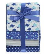 """Cribmates Baby Boys' """"Whale Fun"""" 4-Pack Receiving Blankets - navy, one size"""