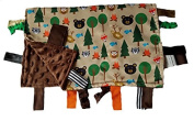 Sensory Baby Blanket Educational Shapes - Forest Friends Camping Fishing 14x18 Lovey