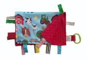 Sensory Baby Blanket Educational Shapes - Farm Friends Cow Pig Horse 14x18 Lovey