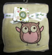 Little Me Baby Coral Plush Blanket With Applique Owlet Owl Light Yellow 80cm x 100cm