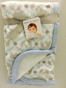 Blankets & Beyond Blue and Grey Damask Elephant Baby Blanket