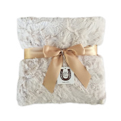 Max Daniel Luxe Sand Bunny Baby Blanket - Double-Sided - Champagne Piped Edge