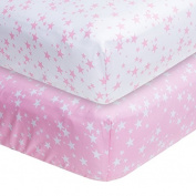 Pink Stars 2-pack Fitted Crib Sheets, Frenchie Mini Couture