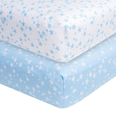 Blue Stars 2-pack Fitted Crib Sheets, Frenchie Mini Couture