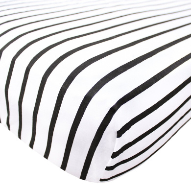 "Premium Fitted Cotton Crib Sheet / Toddler Sheet ""Black and White Stripes"" by Copper Pearl"