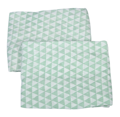 Bacati - Muslin 2 pack Crib fitted sheets (Mint Small Triangles)