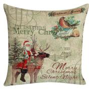 SMTSMT Santa Claus Elk Printing Dyeing Sofa Bed Pillow Case-46cm x 46cm
