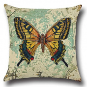 jinshifu Lovely Butterfly Printing Linen Cotton Throw Pillow Sofa Office Chair Seat Lumbar Cushion Headrest Throw Pillow Cover 50cm x 50cm