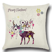 jinshifu Reindeer Pattern Linen Cotton Throw Pillow Sofa Chair Seat Backrest Cushion Christmas Decorations Throw Pillow Cover 50cm x 50cm