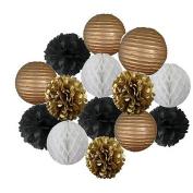 Since Set of 14 Pcs Mixed Hot Gold black and white colour Paper lanterns, Paper balls, Paper Pom Poms Themed Party Hanging Decor Favour