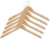 Closet Complete Wood Curved Hanger, Distressed Natural, Set of 5