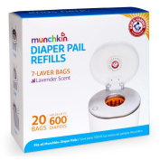 Munchkin Arm & Hammer Nappy Pail Refill Bags, 2 x 20 Bags