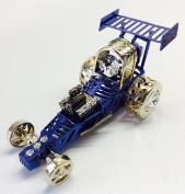 Blue Coloured Austrian Crystal 7.6cm Drag Racing Car Detailed Figurine