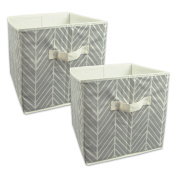 DII Foldable Fabric Storage Containers for Nurseries, Offices, Closets, Home Décor, Cube Organisers & Everyday Storage Needs, (Large - 11 x 28cm x 28cm ) Herringbone Grey - Set of 2