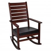 Giftmark Mission Style Rocking Chair with Upholstered Seat, Style B, Cherry