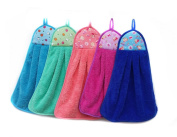 3Pcs Coral Fleece Microfiber Hanging Hand Towel Assorted Colours Quick Dry Thicken Cleaning Cloths Wipes Rags for Kitchen & Bathroom
