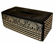 """TISSUE BOX """"A"""" cover case Sheath natural Reed wicker ECO sustainable material plush SILK Trim Elephant Side"""