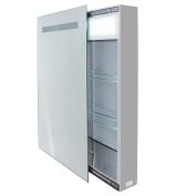 Krugg KINET1830LED Medicine Cabinet Lighted Sliding Mirror Includes Electrical Outlet Plus 2 Glass Shelves