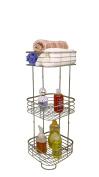 BathSense SPA1001SAT Three-Tier Spa Tower Bathroom Product Storage & Organisation Unit, Satin Nickel