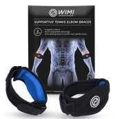 2-Pack Tennis Elbow Brace with Compression Pad by WIMI Sports - Best Tennis & Golfer's Elbow Strap Band - Relieves Tendonitis and Forearm Pain - Includes Two Elbow Support Braces