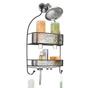 mDesign Bathroom Shower Caddy for Shampoo, Conditioner, Soap - Smoke/Matte Black