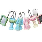 A.B Crew 12 Pack Resin Girl's Bathroom Shower Curtain Hooks