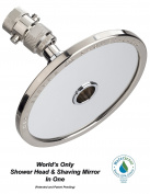"High Sierra's 1.5 GPM ""Reflections"" Shower Head and Non-Fogging Shaving Mirror In One. Brushed Nickel."