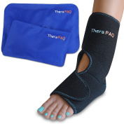 Foot & Ankle Pain Relief Ice Wrap with 2 Hot / Cold Gel Packs | Best for Achilles Tendonitis, Plantar Fasciitis, Bursitis & Sore Feet | Adjustable, Microwaveable, Freezable and Reusable