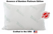 Essence of Bamboo Pillow Platinum Edition - Extra Plush Series - Down Alternative Hypoallergenic Poly Bed Pillows with Bamboo Cover- Crafted in USA