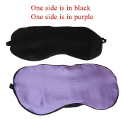 THXSILK 100% Silk Sleep Mask & Blindfold Perfect for Travel / Office, Eye Mask in Purple and Black