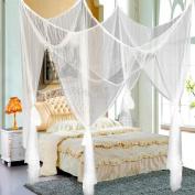 go2buy 4 Corner Post Bed Black/White Canopy-Mosquito Net Bug Queen Full King Size Netting Bedding