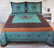 Western Peak 3 Piece Western Texas Lone Star Cabin Lodge Barb Wire Luxury Quilt Bedspread Coverlet Comforter Turquoise Brown Set