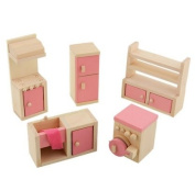 Kid Pretend Role Play Wooden Toy Dollhouse Kitchen Room Miniature Furniture Sets
