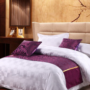 yazi Classic Bed Runner Cotton Bed Spread Scarf for Home Hotel Dormitory Tavern Decoration Purple Pansy 48cm x 210cm