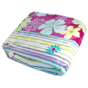 BOON Light Weighted Classic Collection Printed Flannel Fleece Blanket Lilac Blossom Flowers