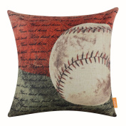 LINKWELL 46cm x 46cm Vintage American Style Baseball Popular Sports in USA with Small Words for Man Cave Burlap Throw Pillow Case Cushion Cover